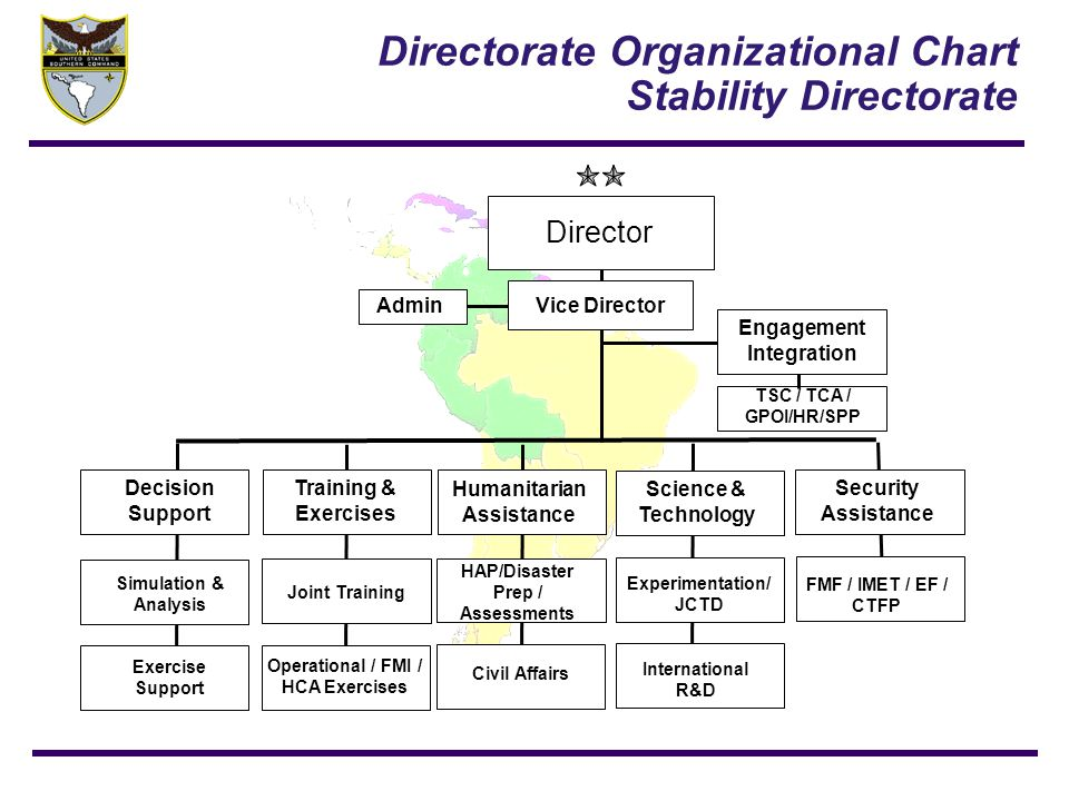 Directorate Organizational Chart Stability Directorate Director Vice Director Engagement Integration Science & Technology Humanitarian Assistance Trai
