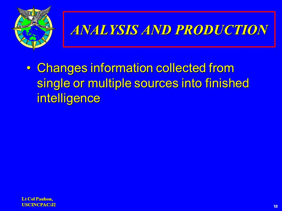 Lt Col Paulson, USCINCPAC/J2 18 ANALYSIS AND PRODUCTION Changes information collected from single or multiple sources into finished intelligenceChanges information collected from single or multiple sources into finished intelligence