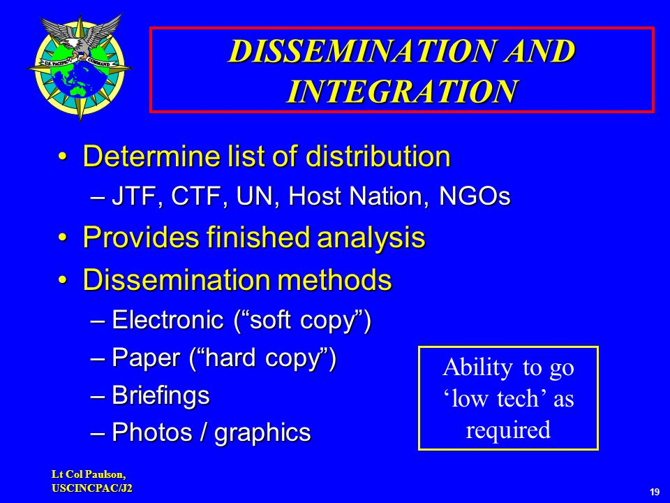 Lt Col Paulson, USCINCPAC/J2 19 DISSEMINATION AND INTEGRATION Determine list of distributionDetermine list of distribution –JTF, CTF, UN, Host Nation, NGOs Provides finished analysisProvides finished analysis Dissemination methodsDissemination methods –Electronic ( soft copy ) –Paper ( hard copy ) –Briefings –Photos / graphics Ability to go 'low tech' as required