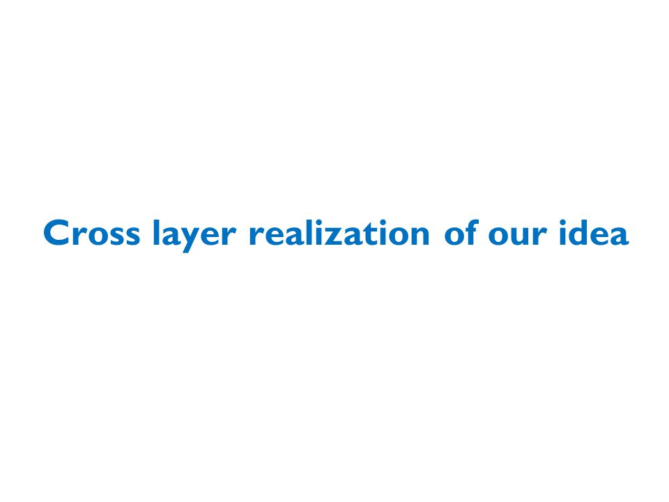 Cross layer realization of our idea