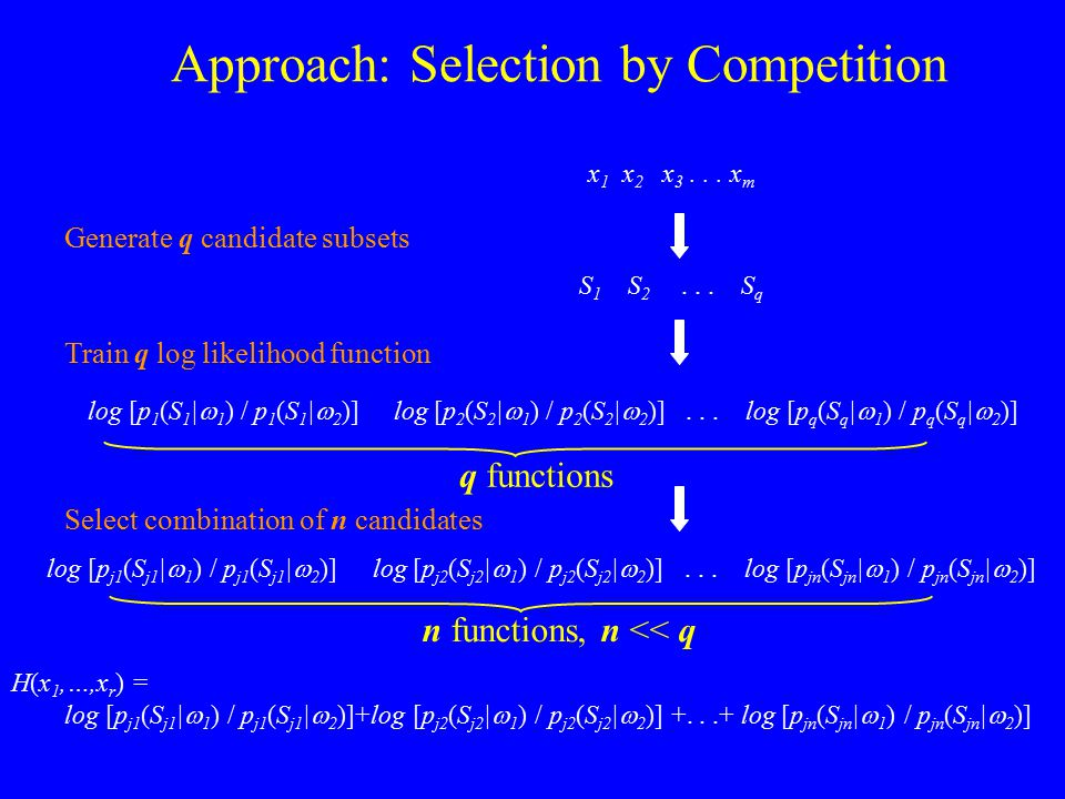 Approach: Selection by Competition x 1 x 2 x 3... x m S 1 S 2... S q Generate q candidate subsets log [p 1 (S 1 |  1 ) / p 1 (S 1 |  2 )] log [p 2 (