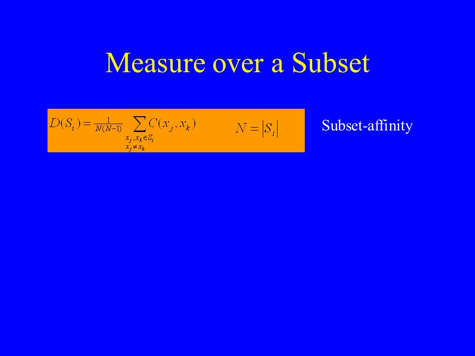Measure over a Subset Subset-affinity