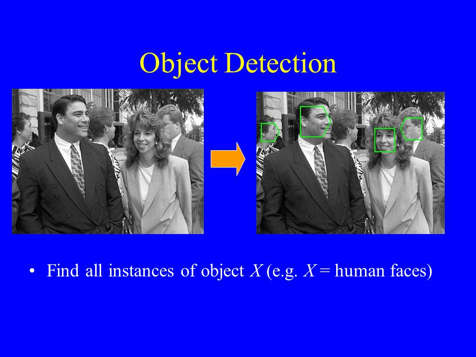 Object Detection Find all instances of object X (e.g. X = human faces)