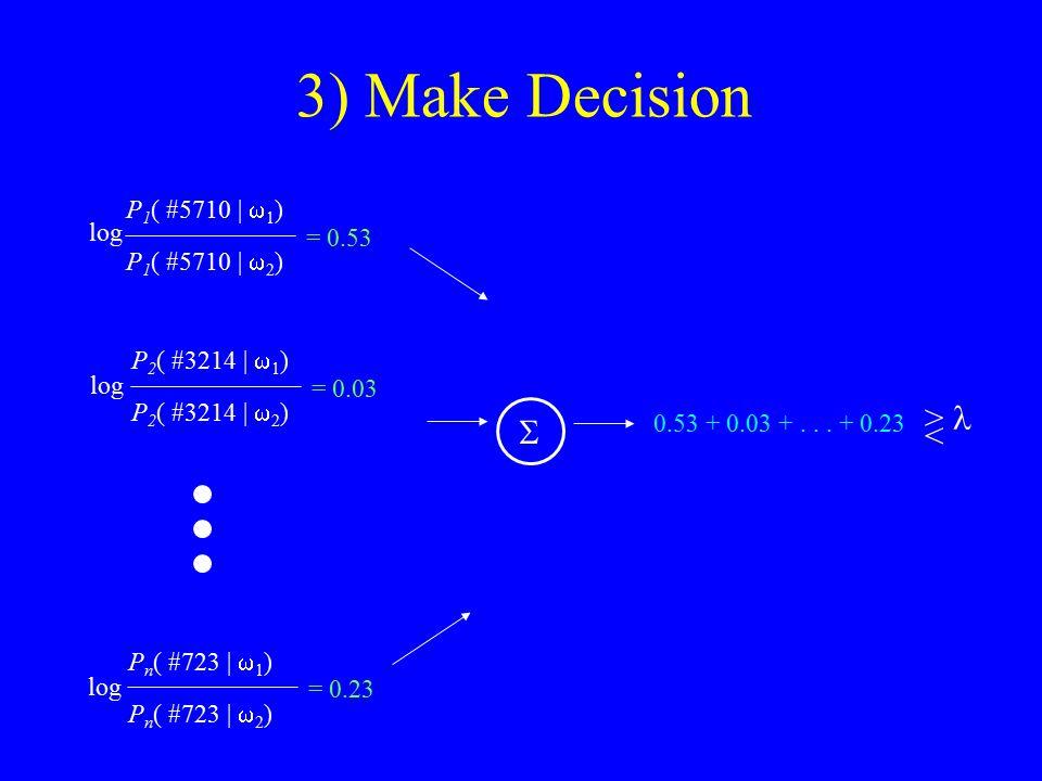 3) Make Decision P 1 ( #5710 |  1 ) P 1 ( #5710 |  2 ) = 0.53 P 2 ( #3214 |  1 ) P 2 ( #3214 |  2 ) = 0.03 log P n ( #723 |  1 ) P n ( #723 |  2