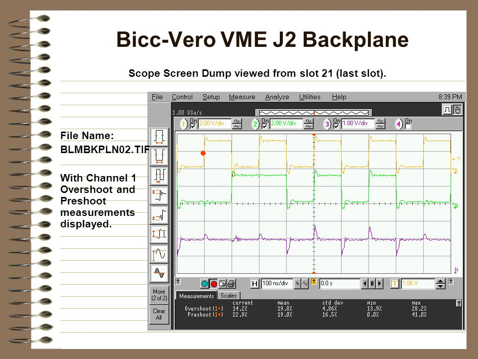 RAD Engineering VME J2 Backplane Scope Screen Dump viewed from slot 21 (last slot).