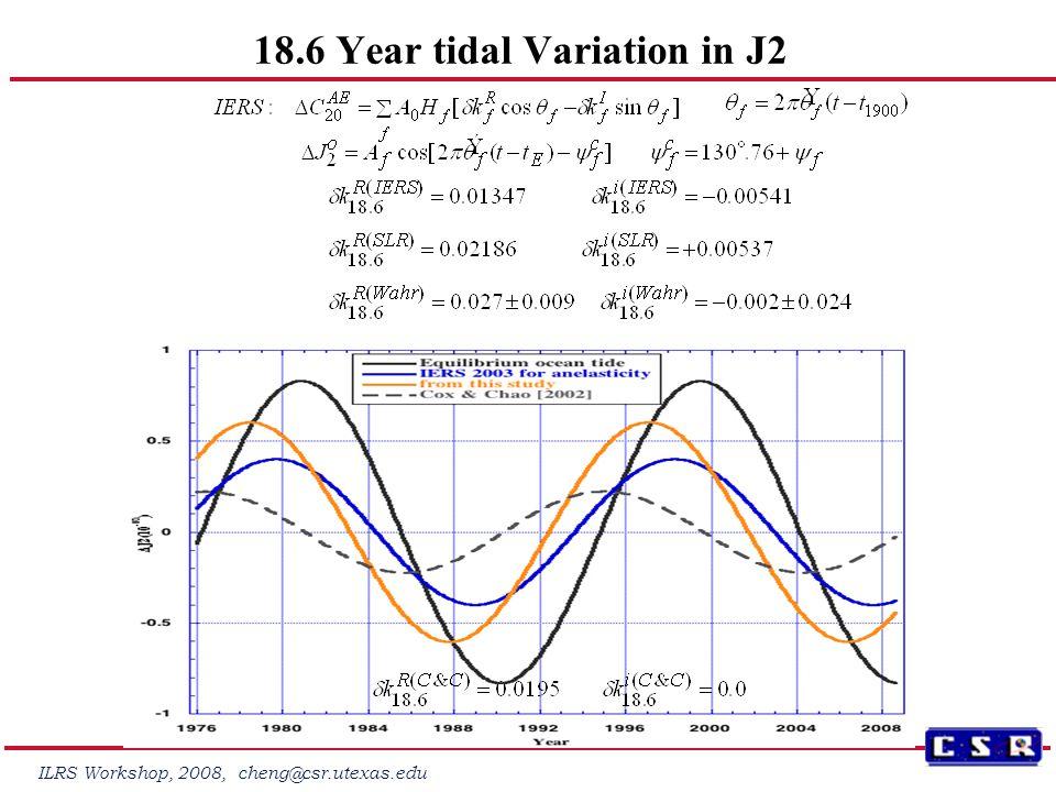 ILRS Workshop, 2008, cheng@csr.utexas.edu 18.6 Year tidal Variation in J2