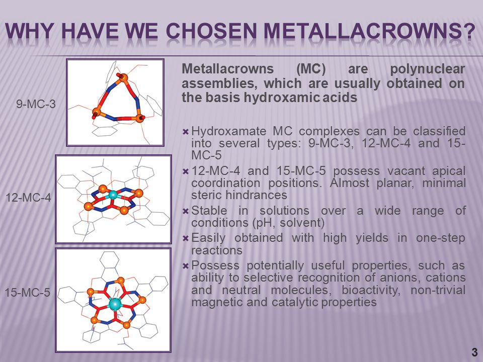  Hydroxamate MC complexes can be classified into several types: 9-MC-3, 12-MC-4 and 15- MC-5  12-MC-4 and 15-MC-5 possess vacant apical coordination positions.