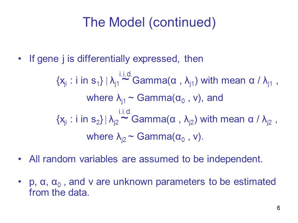7 An example of how the model is imagined to generate the data for the j th gene.