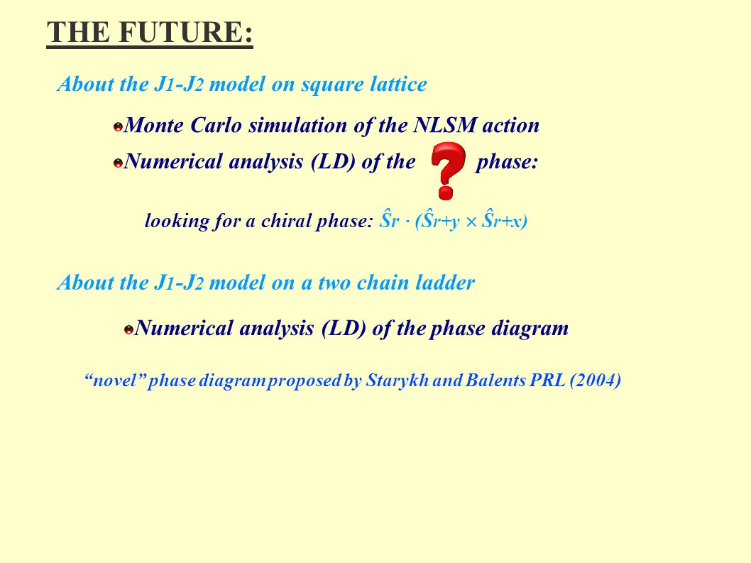 THE FUTURE: About the J 1 -J 2 model on square lattice Monte Carlo simulation of the NLSM action Numerical analysis (LD) of the phase: looking for a c