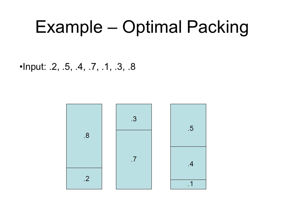 Example – Optimal Packing.8.2.3.7.5.4.1 Input:.2,.5,.4,.7,.1,.3,.8