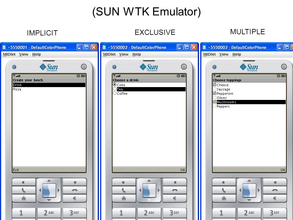 IMPLICIT EXCLUSIVE MULTIPLE (Nokia S60 Emulator)
