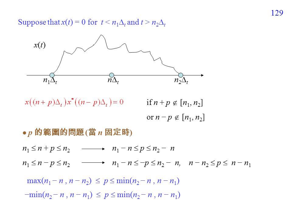 129 Suppose that x(t) = 0 for t n 2  t x(t)x(t) n1tn1t n2tn2t if n + p  [n 1, n 2 ] or n − p  [n 1, n 2 ]  p 的範圍的問題 ( 當 n 固定時 ) n 1  n + p  n 2 n 1 − n  p  n 2 − n n 1  n − p  n 2 n 1 − n  −p  n 2 − n, n − n 2  p  n − n 1 max(n 1 − n, n − n 2 )  p  min(n 2 − n, n − n 1 ) −min(n 2 − n, n − n 1 )  p  min(n 2 − n, n − n 1 ) ntnt