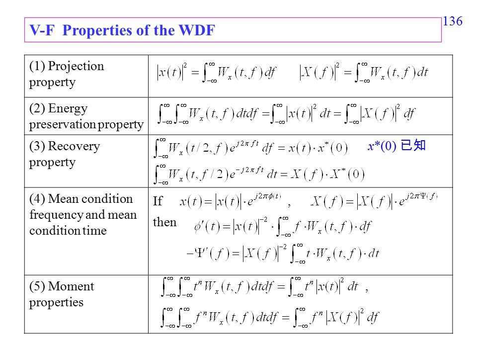 136 V-F Properties of the WDF (1) Projection property (2) Energy preservation property (3) Recovery property x*(0) 已知 (4) Mean condition frequency and mean condition time If, then (5) Moment properties,