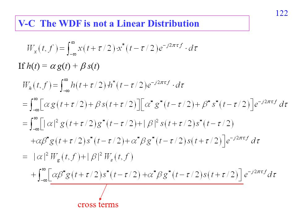 123 for –9  t  1, s(t) = 0 otherwise, f (t) = s(t) + r(t) 橫軸 : t-axis, 縱軸 : f -axis WDF of s(t), WDF of r(t), WDF of s(t) + r(t) V-D Examples of the WDF