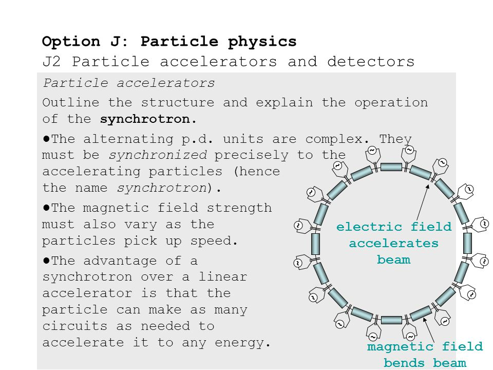 Particle accelerators Outline the structure and explain the operation of the synchrotron. ●The synchrotron is similar to a linac in that acceleration