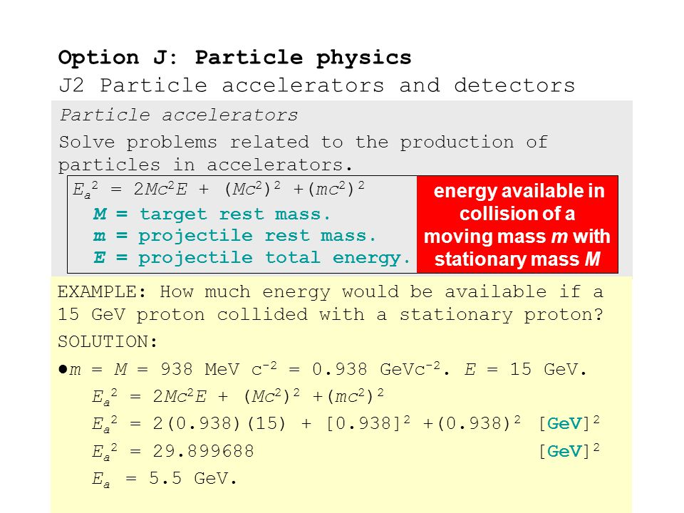 Particle accelerators Solve problems related to the production of particles in accelerators. ●The minimum available energy E a for particle creation o