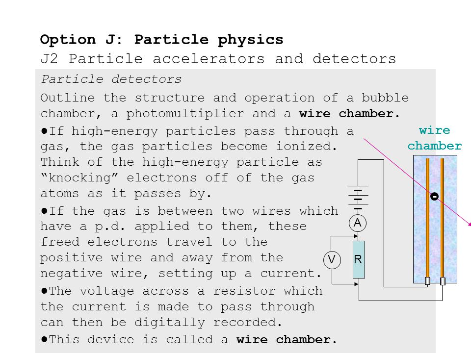 Particle detectors Outline the structure and operation of a bubble chamber, a photomultiplier and a wire chamber. ●In the photomultiplier are a cascad