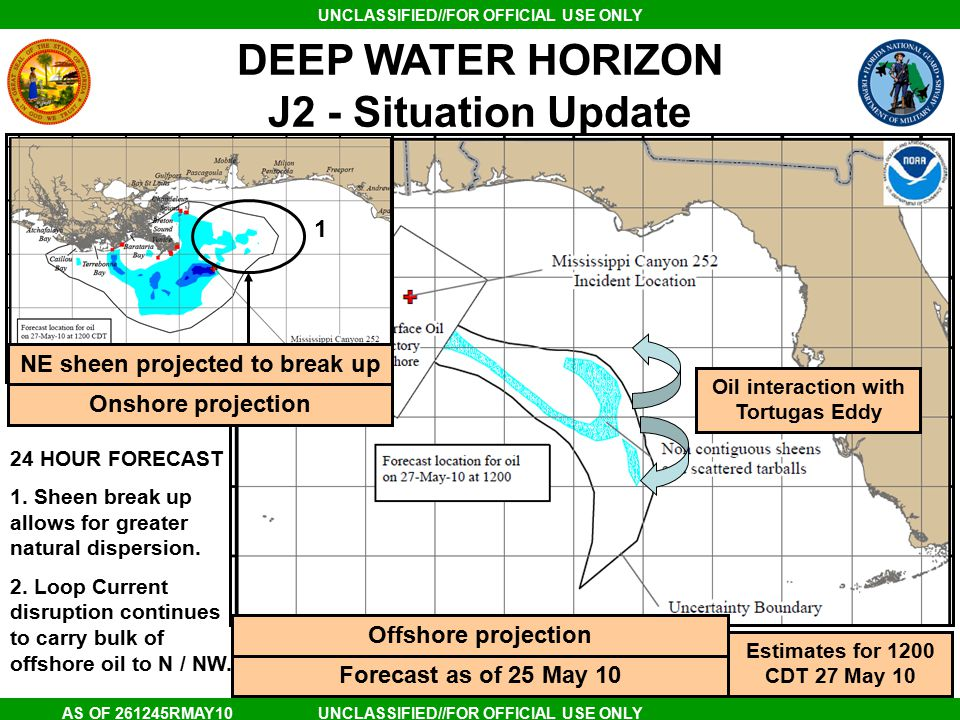 UNCLASSIFIED//FOR OFFICIAL USE ONLY AS OF 261245RMAY10 DEEP WATER HORIZON J2 - Situation Update Estimates for 1200 CDT 27 May 10 Forecast as of 25 May 10 NE sheen projected to break up Offshore projection Onshore projection Oil interaction with Tortugas Eddy 24 HOUR FORECAST 1.