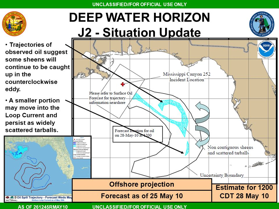 UNCLASSIFIED//FOR OFFICIAL USE ONLY AS OF 261245RMAY10 DEEP WATER HORIZON J2 - Situation Update Estimate for 1200 CDT 28 May 10 Trajectories of observed oil suggest some sheens will continue to be caught up in the counterclockwise eddy.