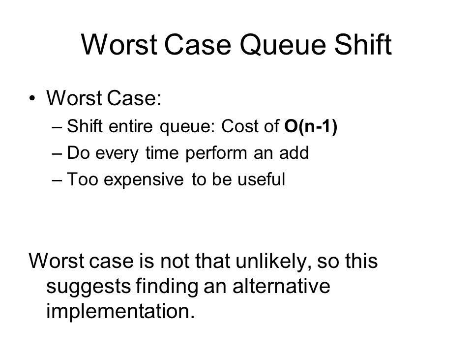 Worst Case Queue Shift Worst Case: –Shift entire queue: Cost of O(n-1) –Do every time perform an add –Too expensive to be useful Worst case is not that unlikely, so this suggests finding an alternative implementation.