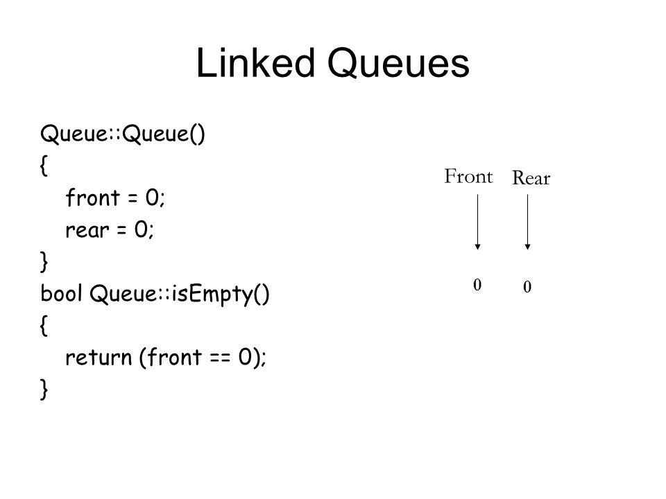 Linked Queues Queue::Queue() { front = 0; rear = 0; } bool Queue::isEmpty() { return (front == 0); } Front Rear 0 0