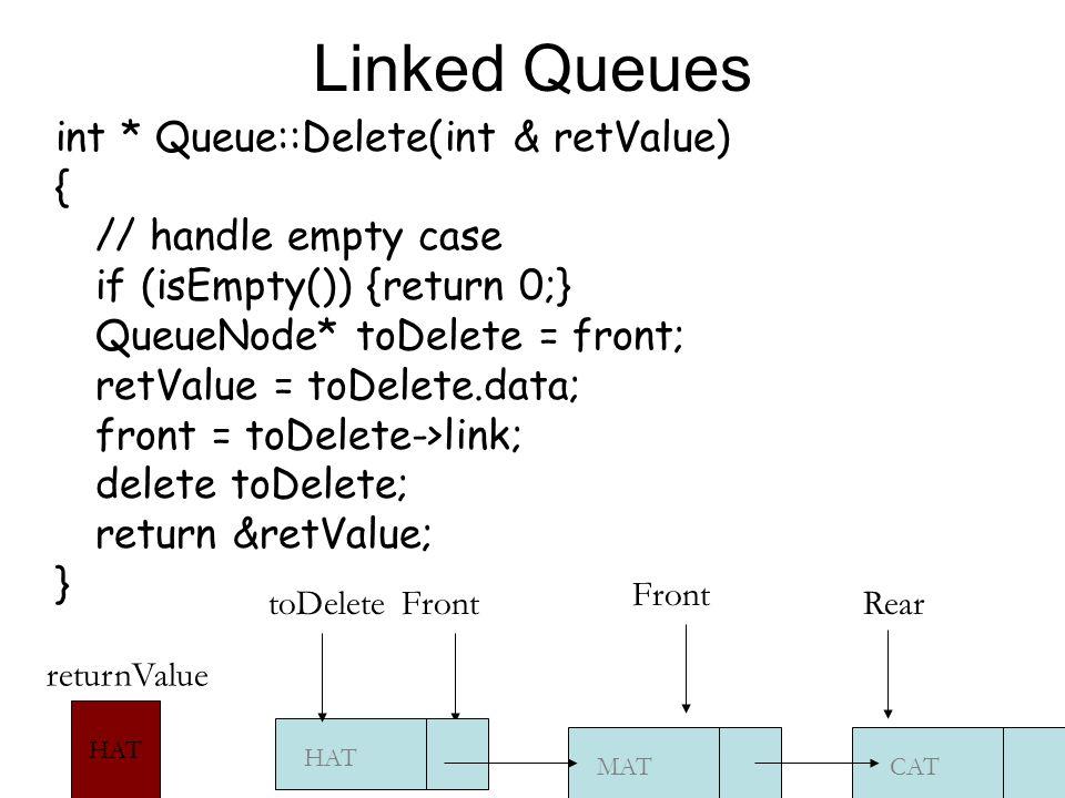 Linked Queues int * Queue::Delete(int & retValue) { // handle empty case if (isEmpty()) {return 0;} QueueNode* toDelete = front; retValue = toDelete.data; front = toDelete->link; delete toDelete; return &retValue; } CAT Front MAT HAT ReartoDelete HAT returnValue Front