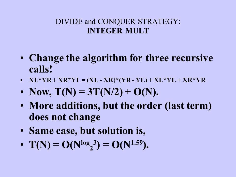 DIVIDE and CONQUER STRATEGY: INTEGER MULT Change the algorithm for three recursive calls! XL*YR + XR*YL = (XL - XR)*(YR - YL) + XL*YL + XR*YR Now, T(N