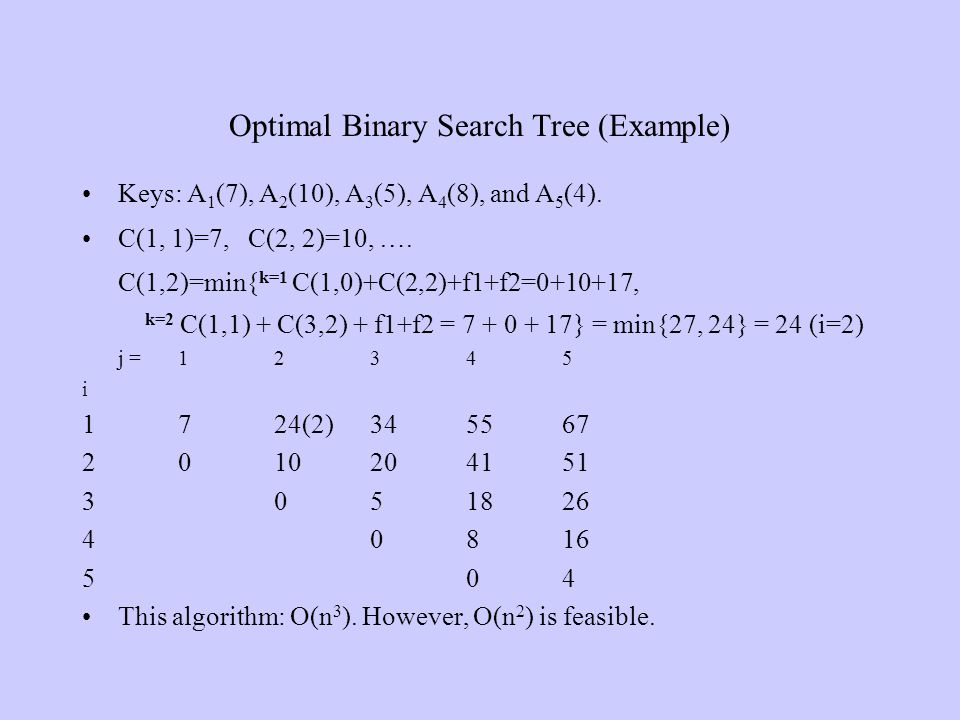 Optimal Binary Search Tree (Example) Keys: A 1 (7), A 2 (10), A 3 (5), A 4 (8), and A 5 (4). C(1, 1)=7, C(2, 2)=10, …. C(1,2)=min{ k=1 C(1,0)+C(2,2)+f
