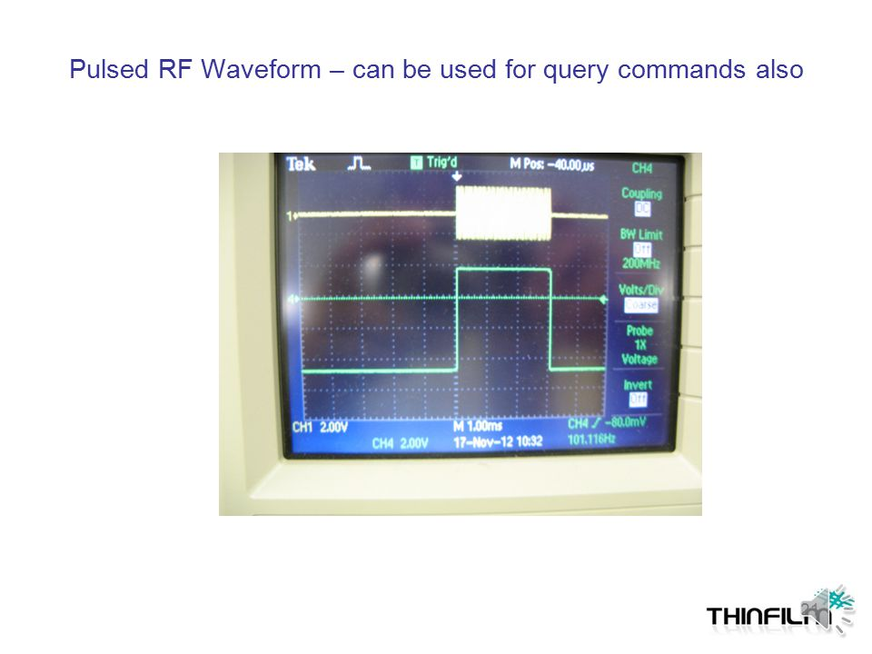 Tag Requirement for Power-On Objective: Tag should respond within specified time after field is applied J2 RF Signal Generator J1 PD-X Scope Pulse Gen