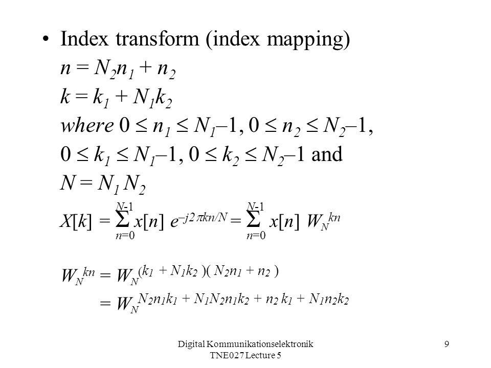 Digital Kommunikationselektronik TNE027 Lecture 5 9 Index transform (index mapping) n = N 2 n 1 + n 2 k = k 1 + N 1 k 2 where 0  n 1  N 1 –1, 0  n 2  N 2 –1, 0  k 1  N 1 –1, 0  k 2  N 2 –1 and N = N 1 N 2 X[k] = Σ x[n] e –j2  kn/N = Σ x[n] W N kn W N kn = W N ( k 1 + N 1 k 2 )( N 2 n 1 + n 2 ) = W N N 2 n 1 k 1 + N 1 N 2 n 1 k 2 + n 2 k 1 + N 1 n 2 k 2 N-1 n=0 N-1