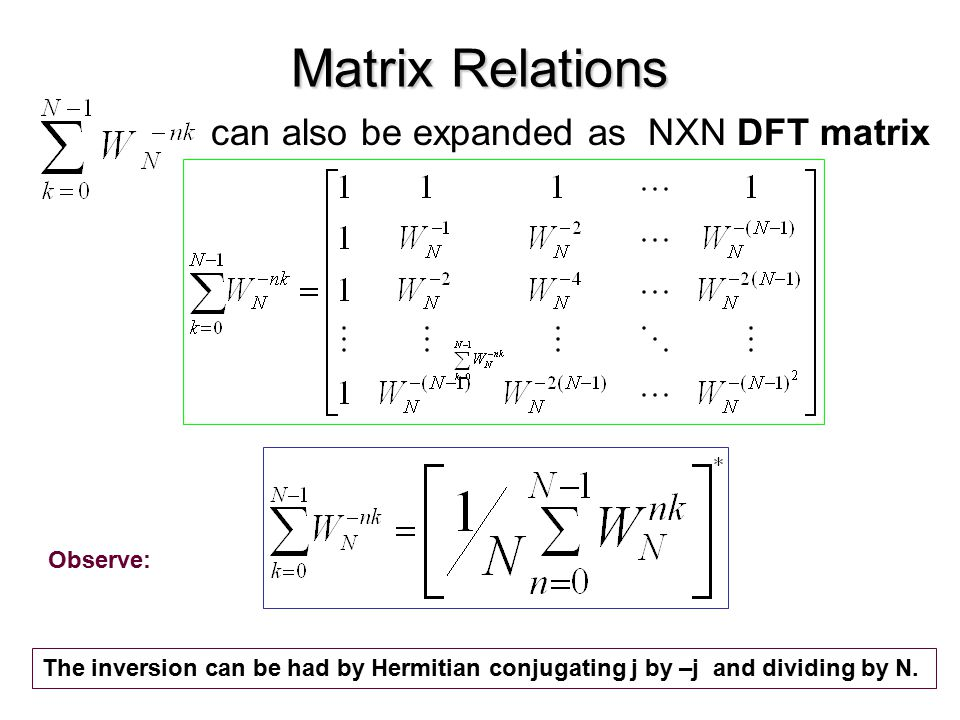 Matrix Relations can also be expanded as NXN DFT matrix Observe: The inversion can be had by Hermitian conjugating j by –j and dividing by N.