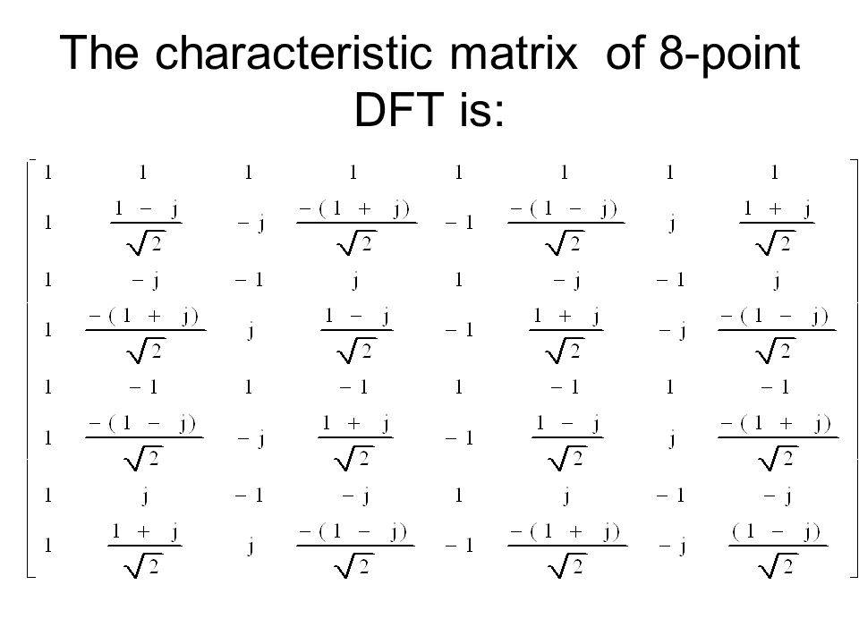 The characteristic matrix of 8-point DFT is: