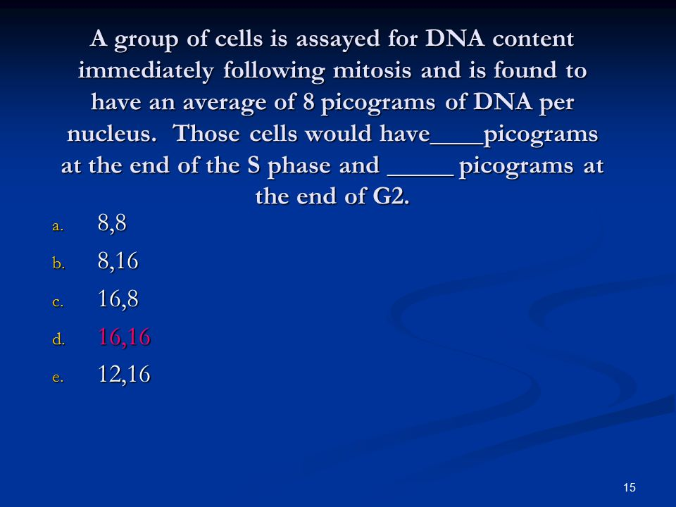 15 A group of cells is assayed for DNA content immediately following mitosis and is found to have an average of 8 picograms of DNA per nucleus. Those