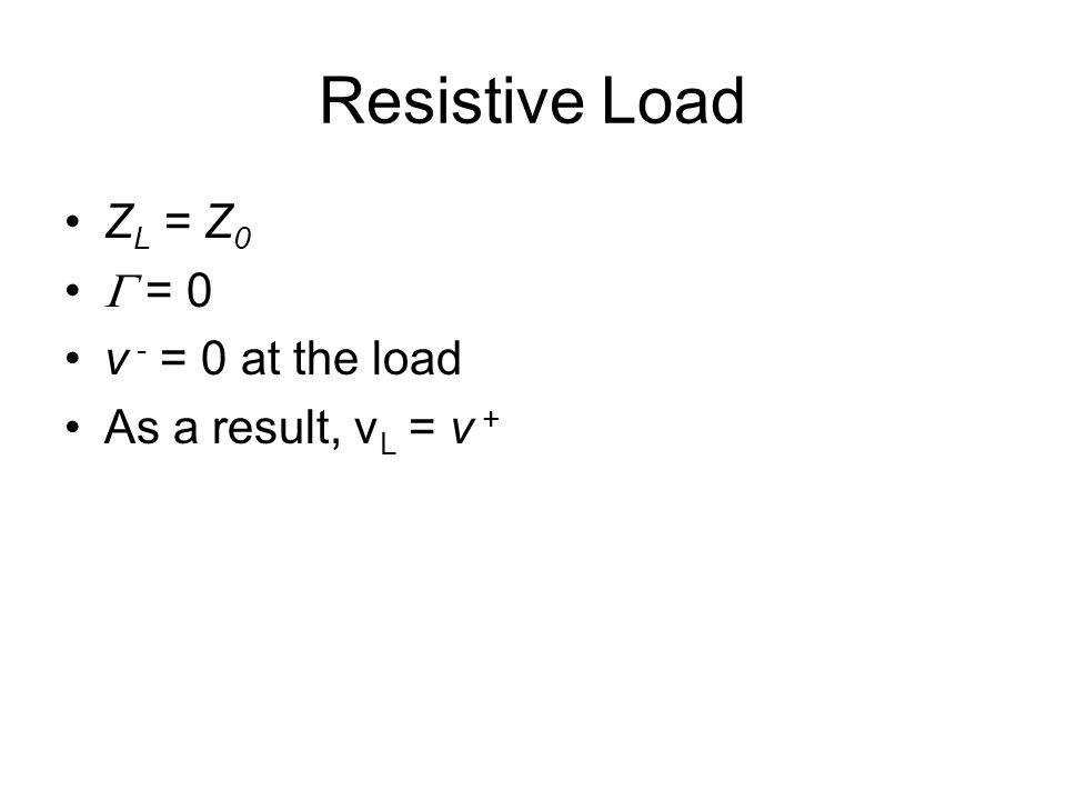Resistive Load Z L = Z 0  = 0 v - = 0 at the load As a result, v L = v +