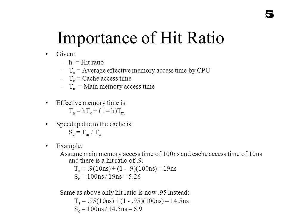 Importance of Hit Ratio Given: –h = Hit ratio –T a = Average effective memory access time by CPU –T c = Cache access time –T m = Main memory access ti