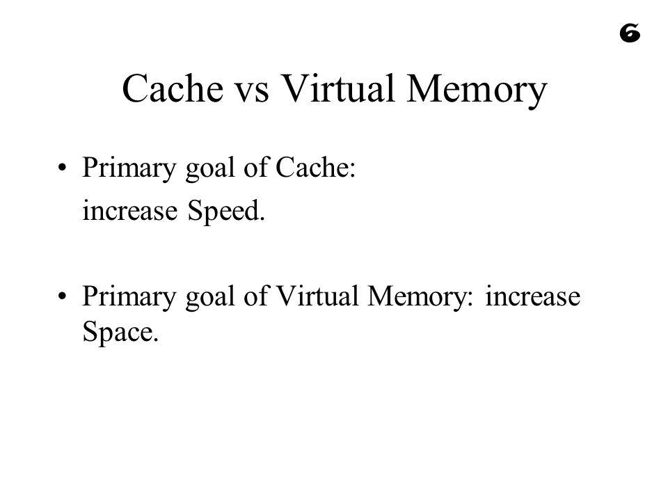 Cache vs Virtual Memory Primary goal of Cache: increase Speed. Primary goal of Virtual Memory: increase Space. 6