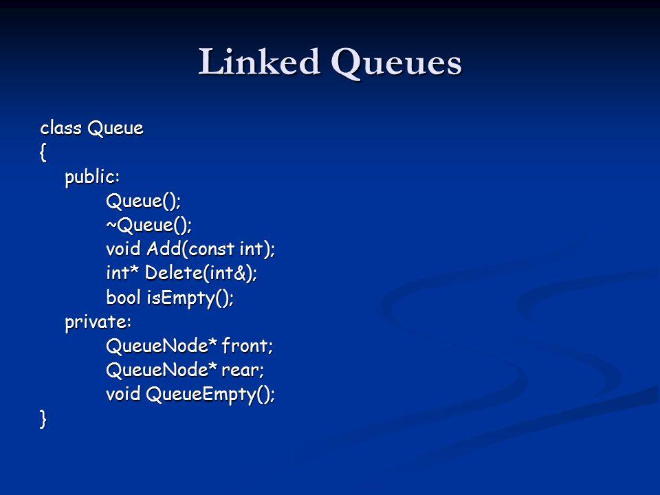 Linked Queues class Queue {public:Queue();~Queue(); void Add(const int); int* Delete(int&); bool isEmpty(); private: QueueNode* front; QueueNode* rear; void QueueEmpty(); }