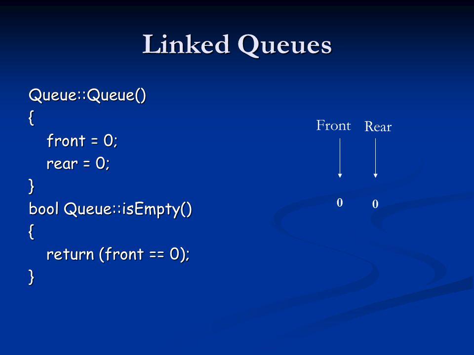 Linked Queues Queue::Queue(){ front = 0; rear = 0; } bool Queue::isEmpty() { return (front == 0); } Front Rear 0 0