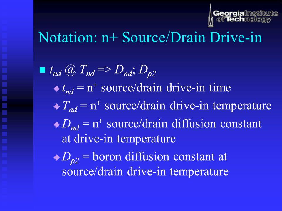 Notation: n+ Source/Drain Drive-in t nd @ T nd => D nd ; D p2   t nd = n + source/drain drive-in time   T nd = n + source/drain drive-in temperatu
