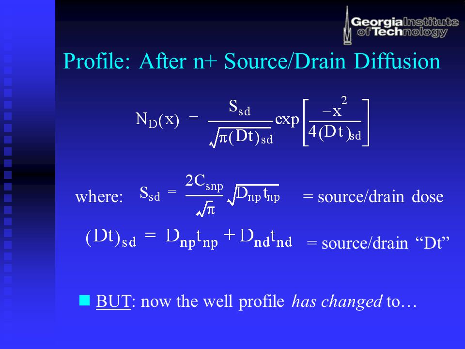 """Profile: After n+ Source/Drain Diffusion where:= source/drain dose = source/drain """"Dt"""" BUT: now the well profile has changed to…"""