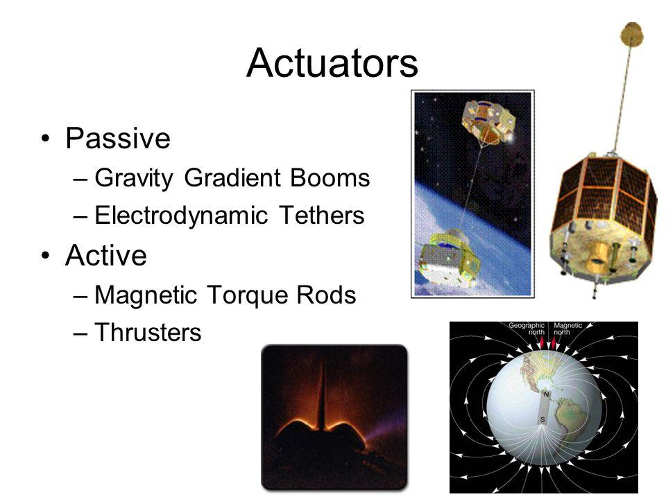 Actuators Passive –Gravity Gradient Booms –Electrodynamic Tethers Active –Magnetic Torque Rods –Thrusters