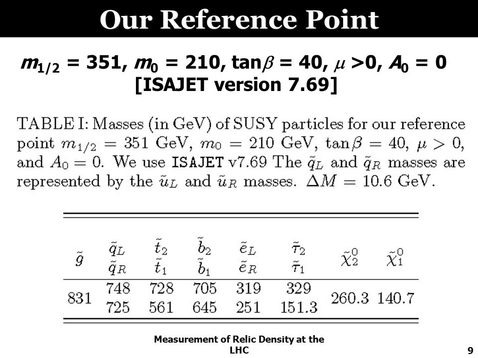 Measurement of Relic Density at the LHC9 Our Reference Point m 1/2 = 351, m 0 = 210, tan  = 40,  >0, A 0 = 0 [ISAJET version 7.69]