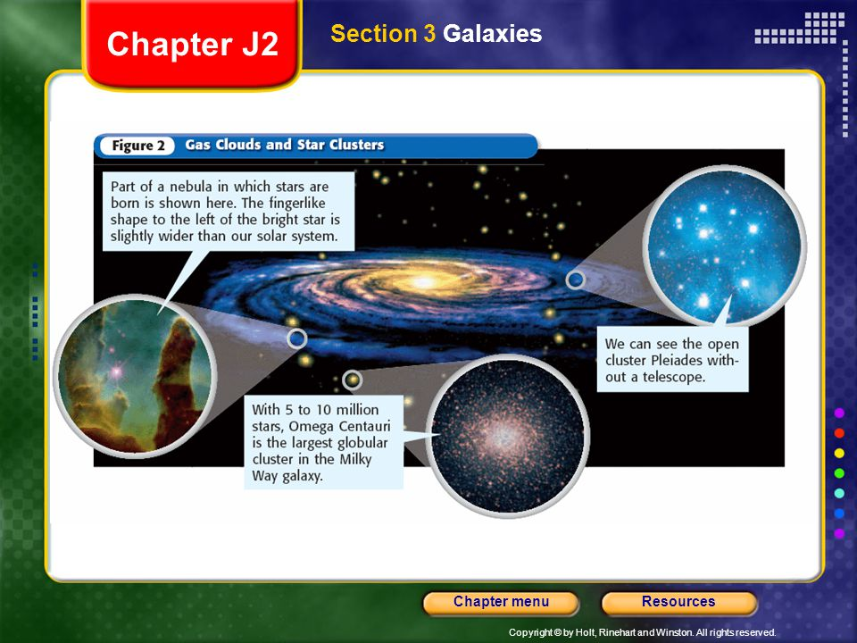Copyright © by Holt, Rinehart and Winston. All rights reserved. ResourcesChapter menu Section 3 Galaxies Chapter J2