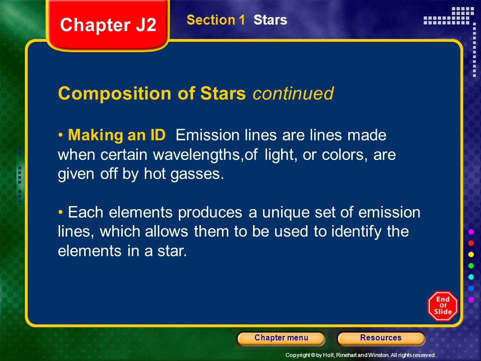 Copyright © by Holt, Rinehart and Winston. All rights reserved. ResourcesChapter menu Section 1 Stars Composition of Stars continued Making an ID Emis