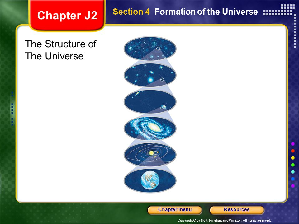 Copyright © by Holt, Rinehart and Winston. All rights reserved. ResourcesChapter menu Section 4 Formation of the Universe The Structure of The Univers