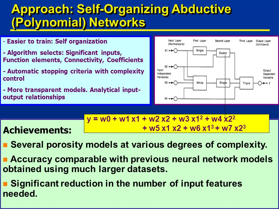 - Easier to train: Self organization - Algorithm selects: Significant inputs, Function elements, Connectivity, Coefficients - Automatic stopping criteria with complexity control - More transparent models.