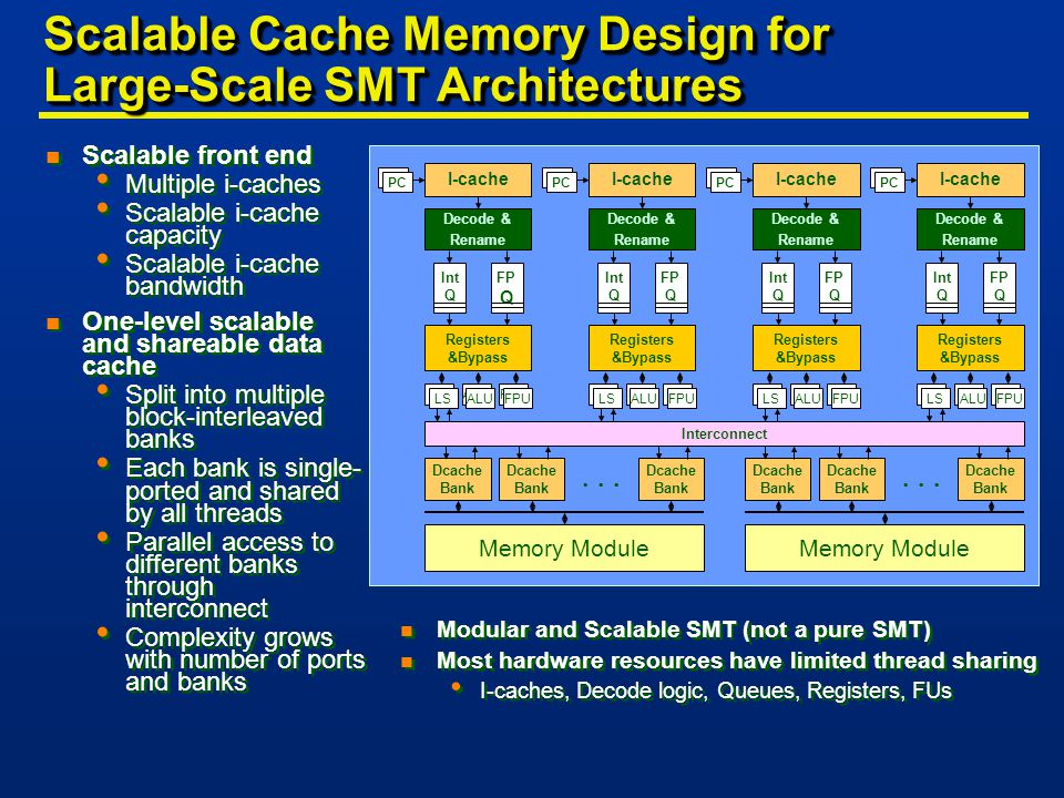 Scalable Cache Memory Design for Large-Scale SMT Architectures n Scalable front end Multiple i-caches Scalable i-cache capacity Scalable i-cache bandwidth n One-level scalable and shareable data cache Split into multiple block-interleaved banks Each bank is single- ported and shared by all threads Parallel access to different banks through interconnect Complexity grows with number of ports and banks n Scalable front end Multiple i-caches Scalable i-cache capacity Scalable i-cache bandwidth n One-level scalable and shareable data cache Split into multiple block-interleaved banks Each bank is single- ported and shared by all threads Parallel access to different banks through interconnect Complexity grows with number of ports and banks Interconnect...