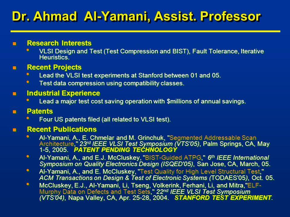 Dr. Ahmad Al-Yamani, Assist.