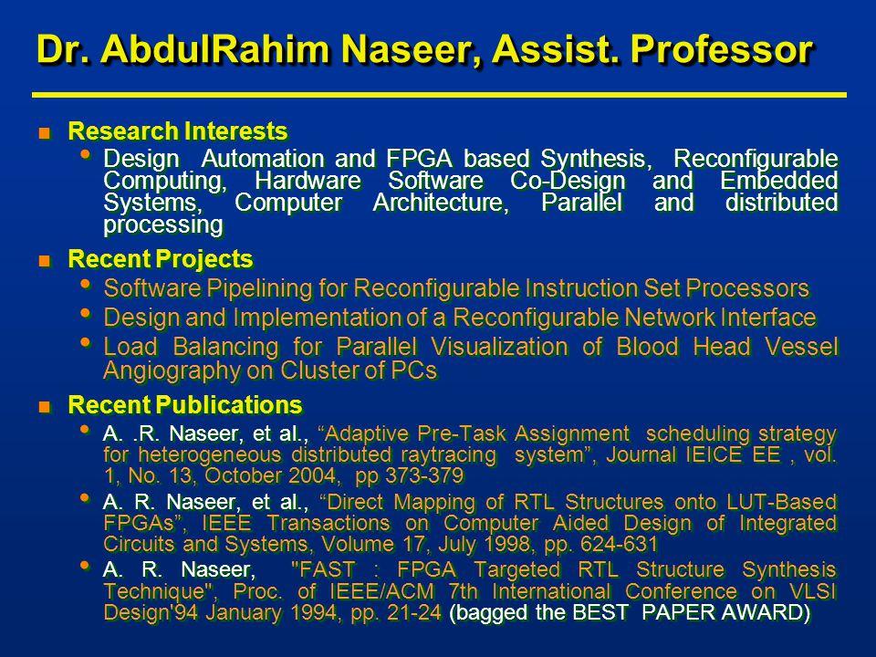 Dr. AbdulRahim Naseer, Assist.