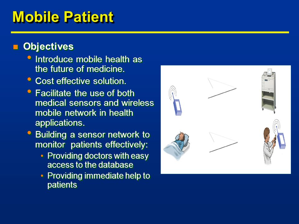 Mobile Patient n Objectives Introduce mobile health as the future of medicine.